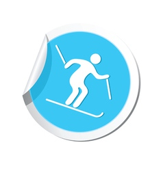 Downhill skiing icon round blue vector