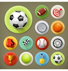 Sport games and leisure long shadow icon set vector
