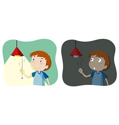 Boy tuning the light on and off vector