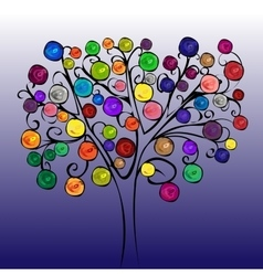 Fairytale tree with bright fruits vector