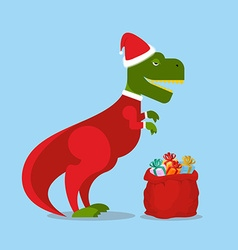 Dinosaur santa claus t-rex in christmas hat vector