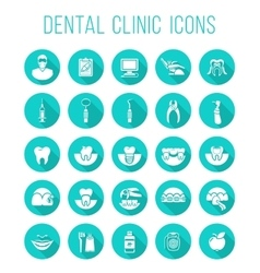 Dental health care round flat icons vector