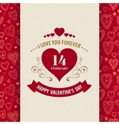 Valentines day typography greeting card over vector