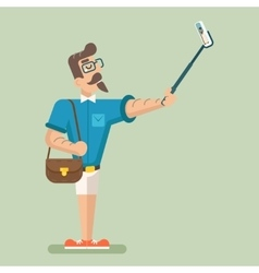 Selfie stick happy cartoon hipster geek mobile vector