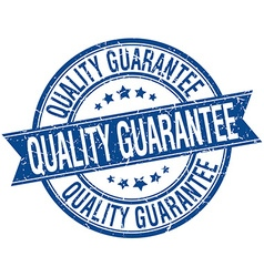 Quality guarantee grunge retro blue isolated vector