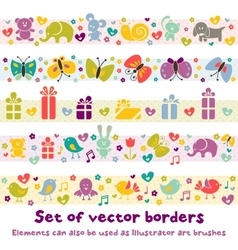 Cute borders with baby icons vector