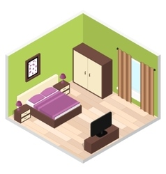 Bedroom Interior with Furniture vector image