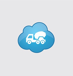 Blue cloud concrete mixer icon vector