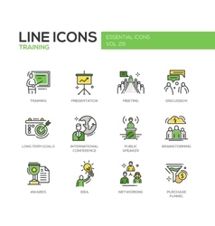 Business training - line design icons set vector