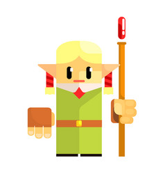 cartoon dwarf gnome wearind hat with a staff in vector image