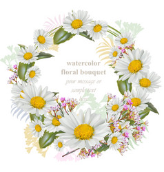 chamomile flowers round wreath card decor frame vector image