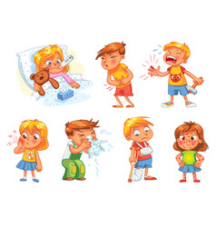 Children get sick vector