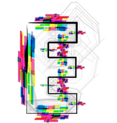 Colorful Font Letter E vector image
