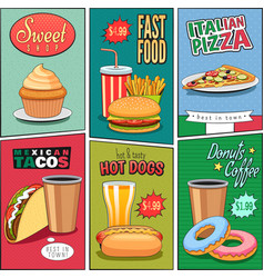 Comic fast food mini posters collection vector