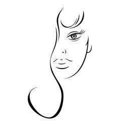 Contour drawing sensual woman face vector