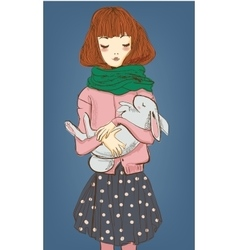 Cute girl with white hare on her hands vector