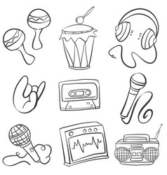 Doodle of various music element vector