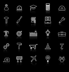 engineering line icons with reflect on black vector image vector image