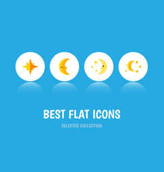 Flat icon night set of nighttime bedtime moon vector