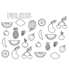 Hand drawn fruits set coloring book page vector