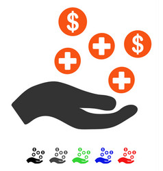 Hand offer medical service flat icon vector