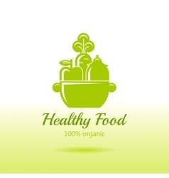 Healthy organic food logo icon with fresh fruits vector image vector image