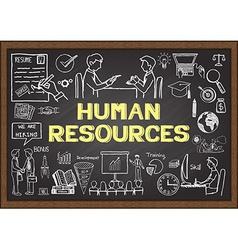 Human Resorces on chalkboard vector image vector image
