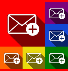 Mail sign with add mark set vector