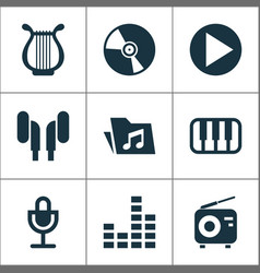 Music icons set with dossier octave cd and other vector