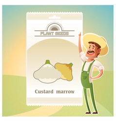 Pack of custard marrow seeds vector