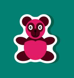 Paper sticker on stylish background toy panda vector