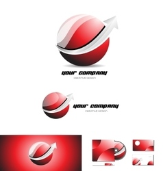 Red sphere arrow 3d logo icon design vector image