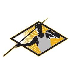 Retro javelin athlete icon vector