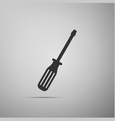 screwdriver flat icon on grey background vector image vector image