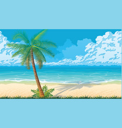 Seamless background with coast ocean palms vector