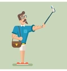 Selfie stick happy cartoon hipster geek mobile vector