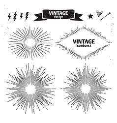 Set of vintage sun burst monochrome light rays vector