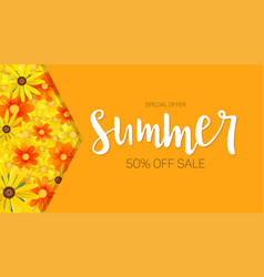Summer sale selling banner hot orange backdrop vector