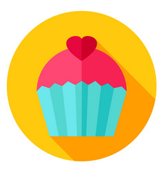 Sweet cupcake circle icon vector