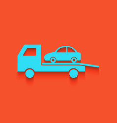 Tow car evacuation sign whitish icon on vector