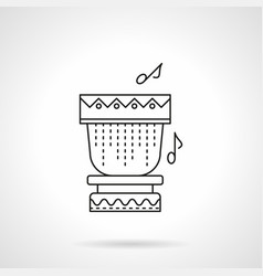 Tropical drum flat line icon vector