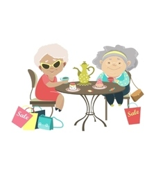Two old women talking in a cafe after shopping vector