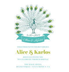 Wedding vintage invitation - peacock theme vector