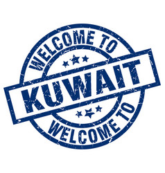 Welcome to kuwait blue stamp vector
