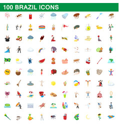 100 brazil icons set cartoon style vector image vector image