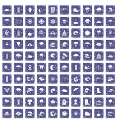 100 weather icons set grunge sapphire vector