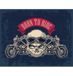 Motorcycle side view and skull with glasses vector