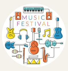Music instruments objects label line design vector