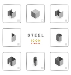 Section steel icon symbol isometric vector