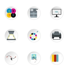 Print icons set flat style vector image
